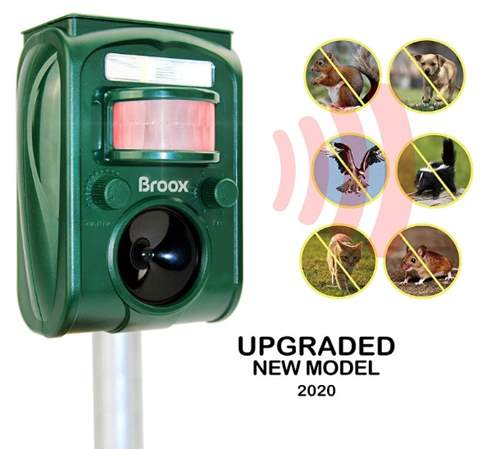 Broox Solar Animal Repeller, Ultrasonic Animal Repellent Outdoor, Waterproof, Motion Detector